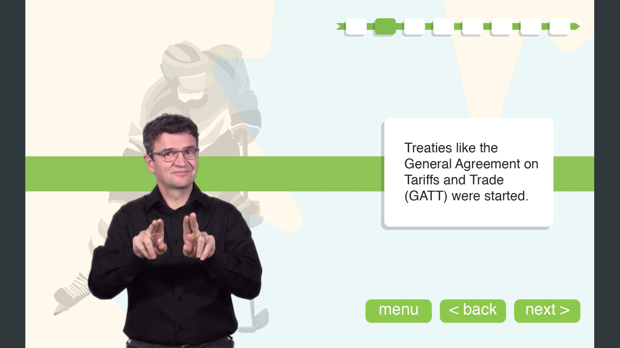 This is a screen cap of a slide from Deaf Learn Now's Citizenship prep course. On the left side of frame, an ASL interpreter is signing. On the right side of the frame is text and navigation buttons.