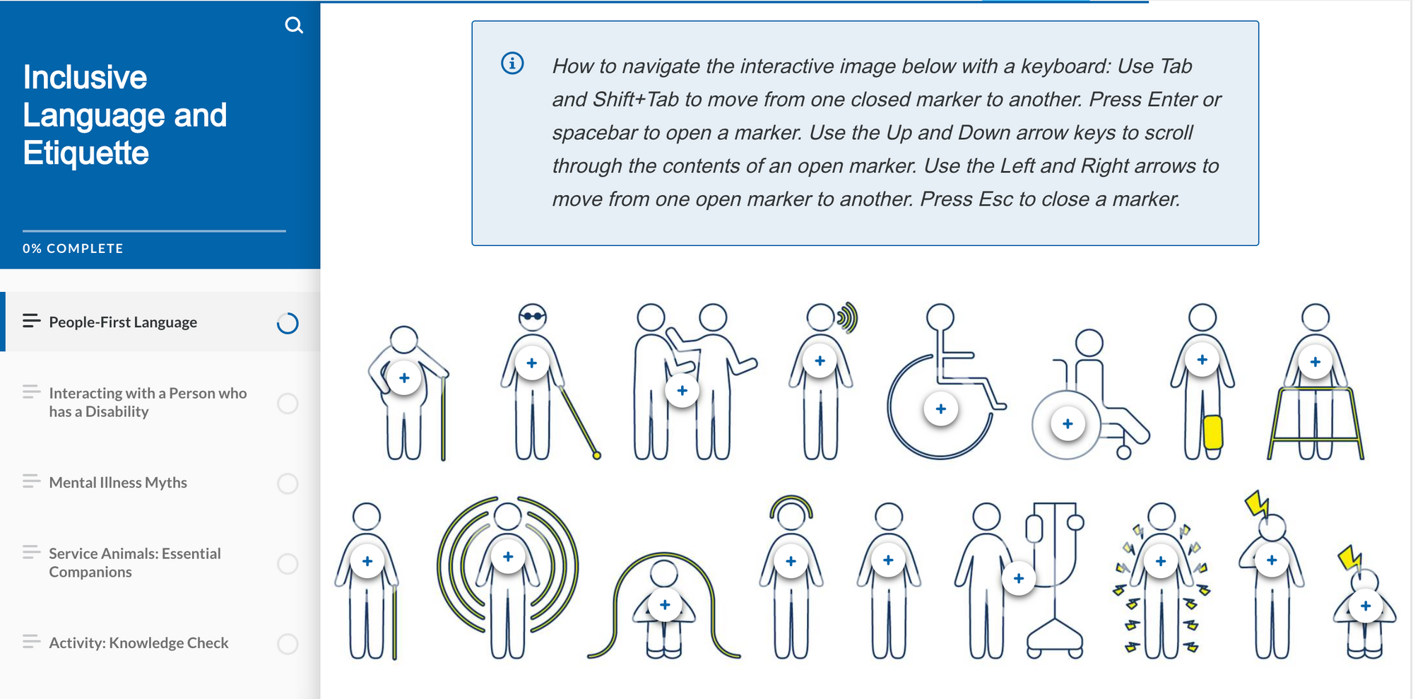 This is a screen cap of a slide from the RHF Accessibility Assessors course. On the slide are a series of illustrations used to demonstrate inclusive language that will be used in the course.